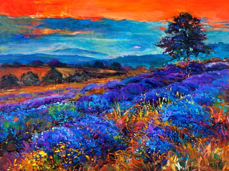 fascinated: Original oil painting of lavender fields on canvas Sunset landscape Modern Impressionism