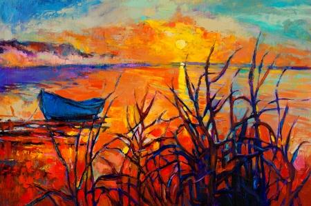 Origineel olieverfschilderij van de boot en de zee op canvas.Sunset dan ocean.Modern Impressionisme Stockfoto