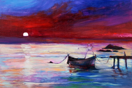 Original oil painting of boats  and sea on canvas.Purple Sunset and white moon  over ocean.Modern Impressionism photo