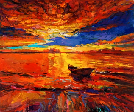 impressionism: Original oil painting of boat  and sea on canvas.Rich Golden Sunset over ocean.Modern Impressionism