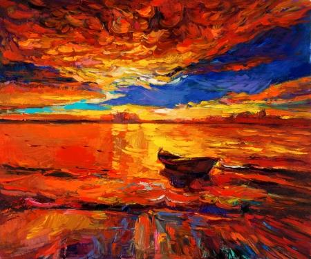 Origineel olieverfschilderij van de boot en de zee op canvas.Rich Golden Sunset over ocean.Modern Impressionisme