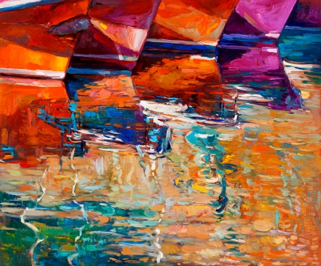 Original oil painting of boats and jetty(pier) on canvas.Sunset over ocean.Modern Impressionism Stock Photo