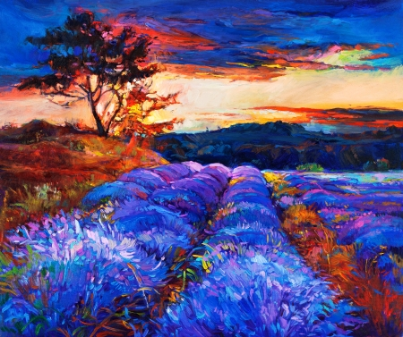 oil painting: Original oil painting of lavender fields on canvas.Sunset landscape.Modern Impressionism Stock Photo