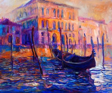 オリジナル油絵キャンバスに沈む夕日の美しいヴェネツィア、イタリア。現代印象派