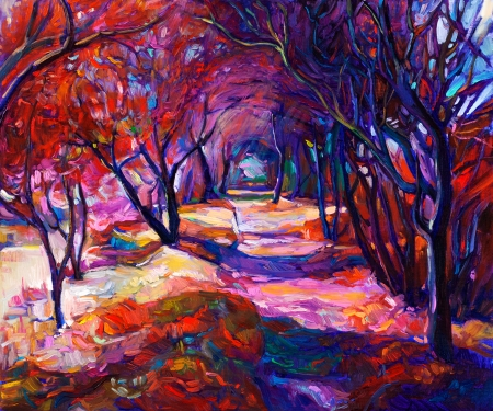 Original oil painting showing beautiful sunset landscape.Autumn forest and sun rays. Modern Impressionism Stock Photo - 23177661