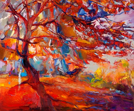 Original oil painting showing beautiful Autumn tree. Modern Impressionism Stock Photo - 23177664