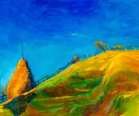 Original oil painting showing beautiful Autumn meadow with straw stack on canvas. Modern Impressionism Stock Photo