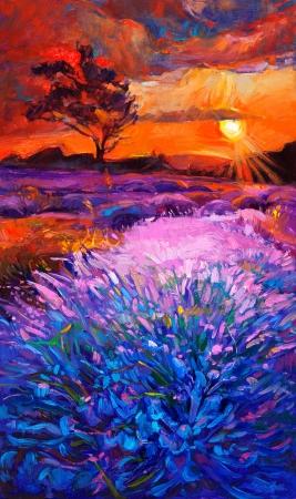 Ursprüngliches Ölgemälde von Lavendelfeldern auf canvas.Sunset landscape.Modern Impressionismus Standard-Bild - 23177684