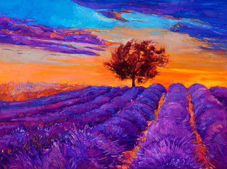Original oil painting of lavender fields on canvas.Sunset landscape.Modern Impressionism Foto de archivo