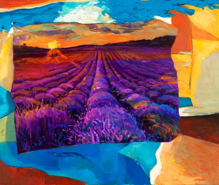 Original oil painting of lavender fields on canvas.Sunset landscape.Modern Impressionism photo