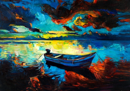 oil pastels: Original oil painting of boat and sea on canvas.Sunset over ocean.Modern Impressionism Stock Photo
