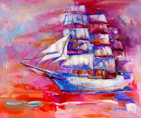 Original oil painting of sail ship and sea on canvas.Sunset over ocean.Modern Impressionism photo
