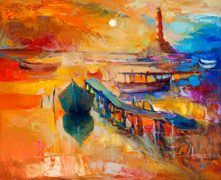 Original oil painting of boats and jetty(pier)and lighthouse on canvas.Sunset over ocean.Modern Impressionism Stockfoto
