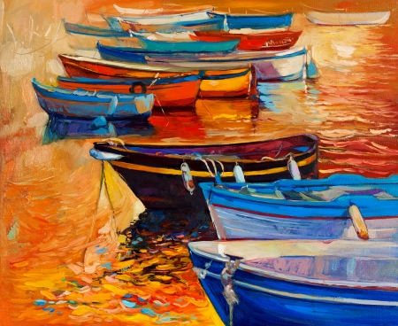 artist's canvas: Original oil painting of boats and jetty(pier)and lighthouse on canvas.Sunset over ocean.Modern Impressionism Stock Photo