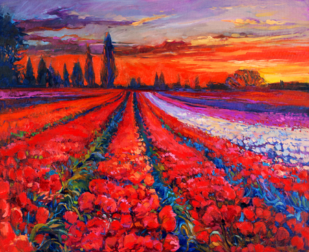 sunset painting: Original oil painting of Opium poppy( Papaver somniferum) or tulip  field in front of beautiful sunset  on canvas.Modern Impressionism