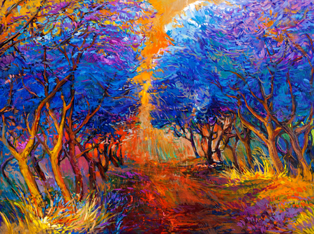 Original oil painting showing beautiful sunset landscape.Autumn forest and sun rays