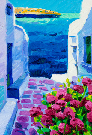 aegean sea: Original oil painting showing Blue churches and white houses of Oia village at Santorini island with sea view. Greece.Modern Impressionism Stock Photo