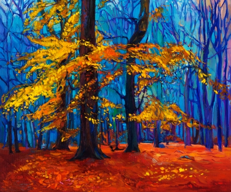Original oil painting showing beautiful Autumn tree. Modern Impressionism
