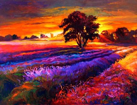 lavender oil: Original oil painting of lavender fields on canvas.Sunset landscape.Modern Impressionism Stock Photo