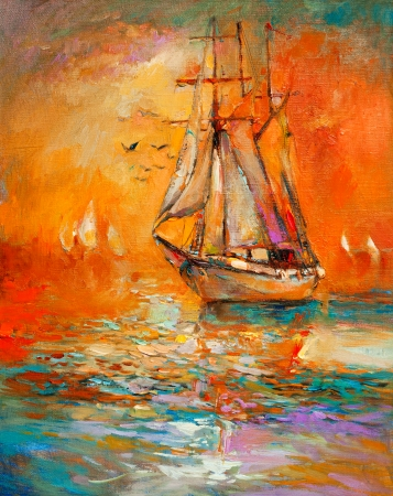 abstract paintings: Original oil painting of sail ship and sea on canvas.Golden Sunset over ocean.Modern Impressionism Stock Photo