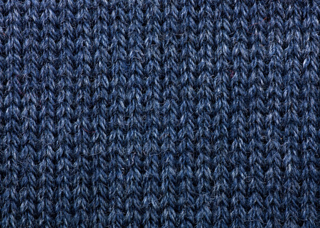 Macro detail of blue knitted wool texture or background photo