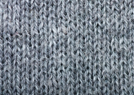 Macro detail of gray knitted wool texture or background photo