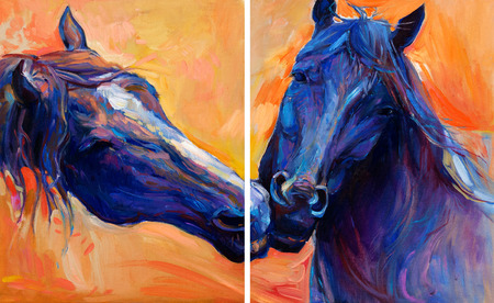 Original abstract oil painting of  beautiful blue horses.Modern Impressionism.Painting is related to year 2014-year of the blue horse Stock Photo