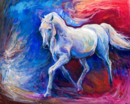 Origineel abstract olieverfschilderij van een mooie blauwe paard running.Modern Impressionism.Painting is gerelateerd aan 2014-jaar van de blauwe paard Stockfoto - 26081745