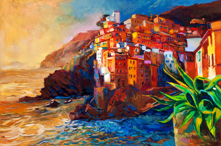 cinque: Original abstract oil painting of a village on The Cinque Terre coast on the Italian Riviera.Modern Impressionism Stock Photo