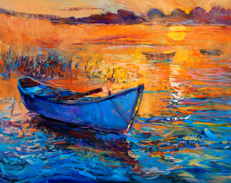 impressionism: Original abstract oil painting of boats    and sea on canvas.Rich Golden Sunset over ocean.Modern Impressionism