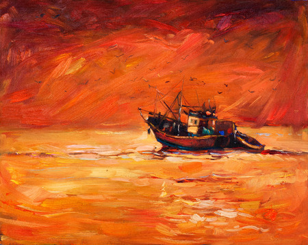golden dusk: Original abstract oil painting of fishing boat    and sea on canvas.Rich Golden Sunset over ocean.Modern Impressionism Stock Photo