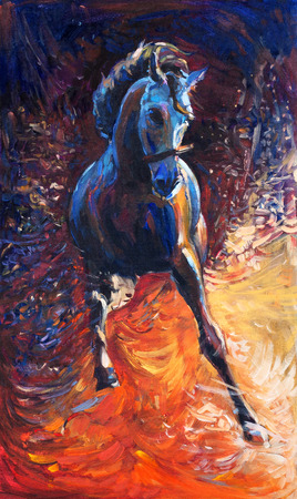 Original abstract oil painting of a beautiful blue horse running.Modern Impressionism.Painting is related to year 2014-year of the blue horse Foto de archivo