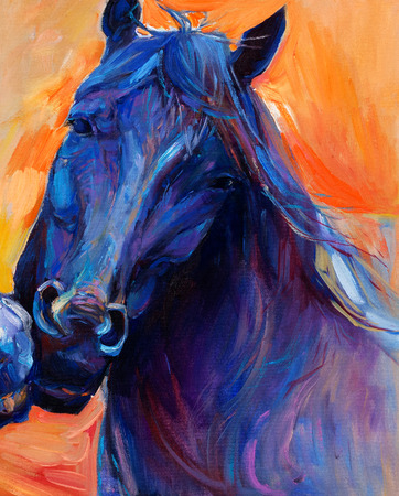 Original abstract oil painting of a beautiful blue horse.Modern Impressionism.Painting is related to year 2014-year of the blue horse photo