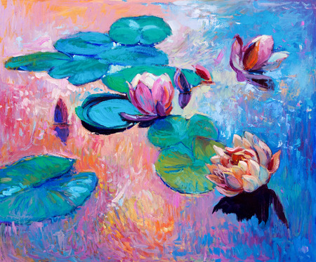 water color painting: Original abstract oil painting of  beautiful water lilies.Modern Impressionism.