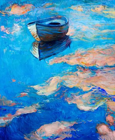 Origineel abstract olieverfschilderij van de boot en de zee op canvas.Modern Impressionisme Stockfoto