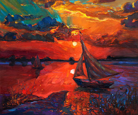 Original abstract oil painting of fishing boat and sea on canvas.Rich Golden Sunset over ocean.Modern Impressionism photo