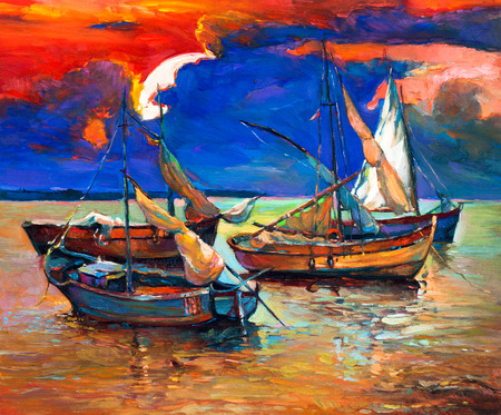 retro sunrise: Original abstract oil painting of fishing boats and sea on canvas.Rich Golden Sunset over ocean.Modern Impressionism