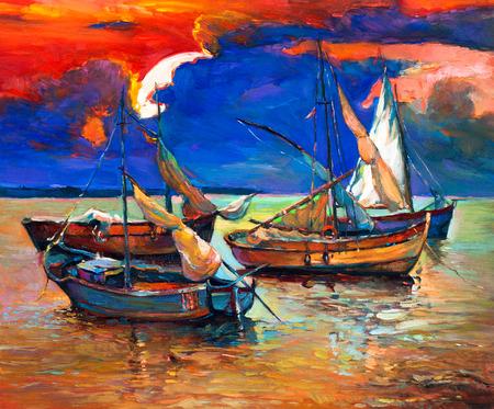 mar: Pintura al óleo abstracta original de los barcos de pesca y el mar en la puesta del sol dorado sobre canvas.Rich ocean.Modern Impresionismo