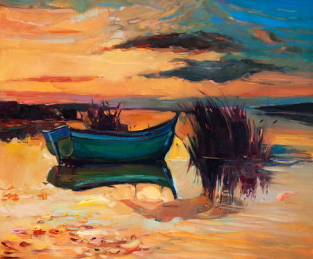 Original abstract oil painting of f boat and lake on canvas.Rich Golden Sunset.Modern Impressionism photo
