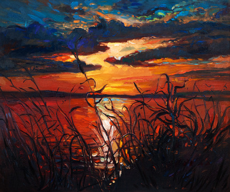 Original abstract oil painting of beautiful lake landscape on canvas.Fern(rush ),sky and clouds.Rich Golden Sunset.Modern Impressionism