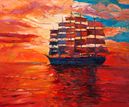 Original oil painting of sailing frigate or ship and sea on canvas.Rich Golden Sunset over ocean.Modern Impressionism