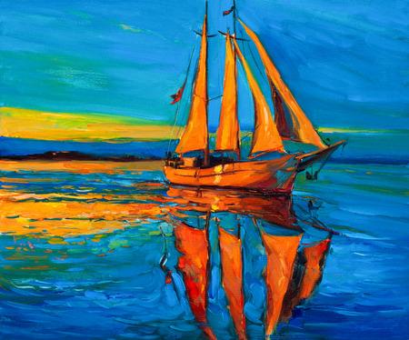 Origineel olieverfschilderij van zeilschip en de zee op canvas.Rich Golden Sunset over ocean.Modern Impressionisme Stockfoto