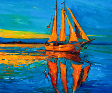 Original oil painting of sailing ship and sea on canvas.Rich Golden Sunset over ocean.Modern Impressionism