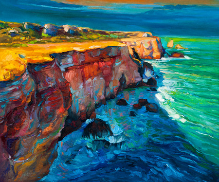 golden dusk: Original abstract oil painting of cliffs and ocean on canvas.Modern Impressionism
