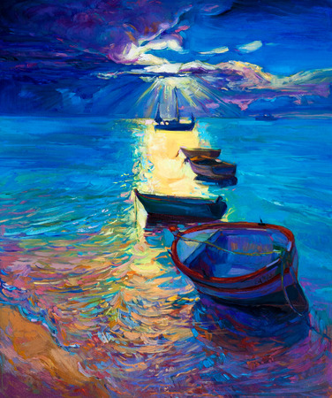 Original abstract oil painting of fishing boats and sea on canvas.Sunset over ocean.Modern Impressionism