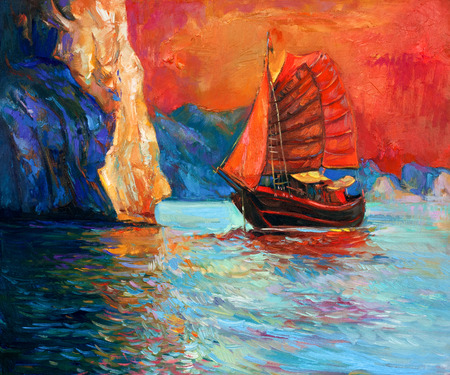 Original oil painting of chinese sailing  ship and cliffs in sea on canvas.Rich Golden Sunset over ocean.Modern Impressionism Stock Photo - 26924635