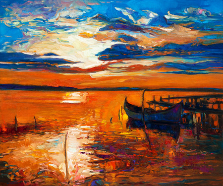 Original oil painting of boats and jetty(pier) on canvas.Rich golden Sunset over ocean.Modern Impressionism Stock Photo