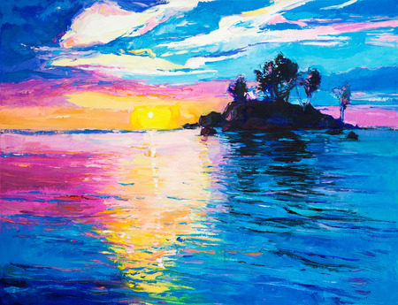 ocean view: Original oil painting of lonely island and sea on canvas.Rich colorful Sunset over ocean.Modern Impressionism