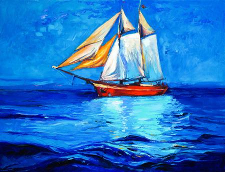 Origineel olieverfschilderij van het zeilschip en zee op canvas.Modern Impressionisme Stockfoto