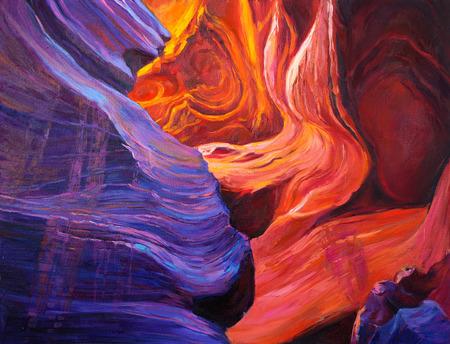 pintura rupestre: Pintura al �leo original del Gran Ca��n en el interior de una cueva en canvas.Modern Impresionismo